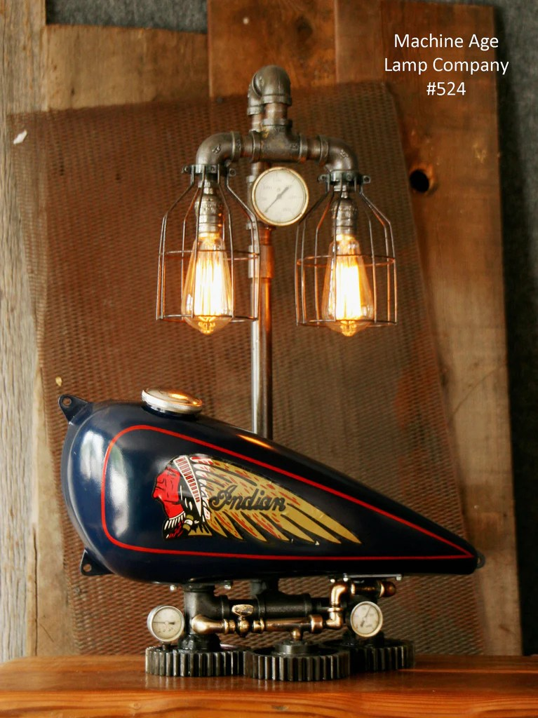 Steampunk Tank Lamp Vintage c1930 Chief Motorcycle Gas