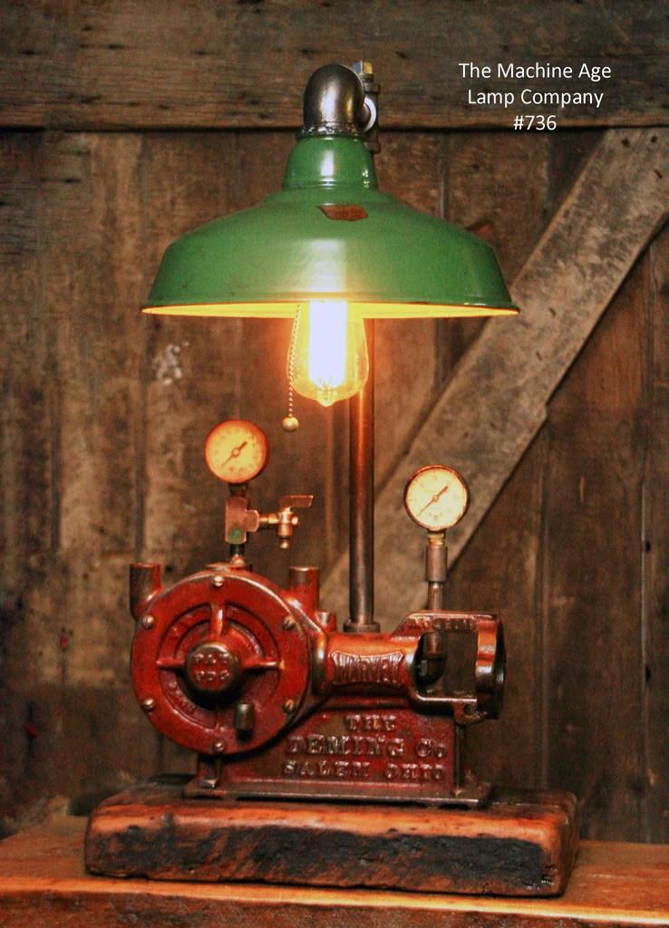 Steampunk Industrial Steam Gauge Lamp