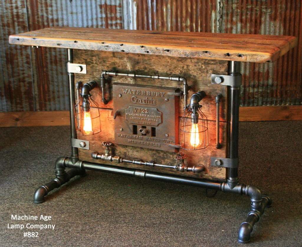 Steampunk Industrial Table Lamp Stand Console Barn wood  Furnace D