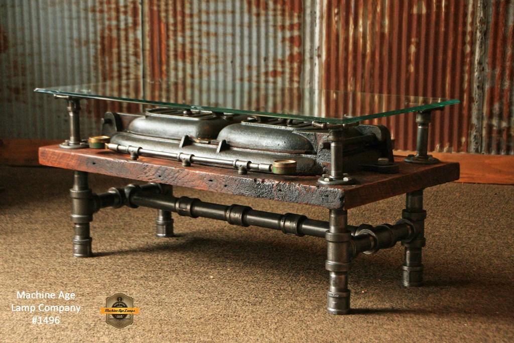 Steampunk Antique Industrial / Coffee Table / Barn Wood