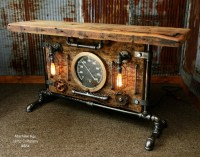 Steampunk Industrial Table, Lamp Stand, Console, Barn wood ...