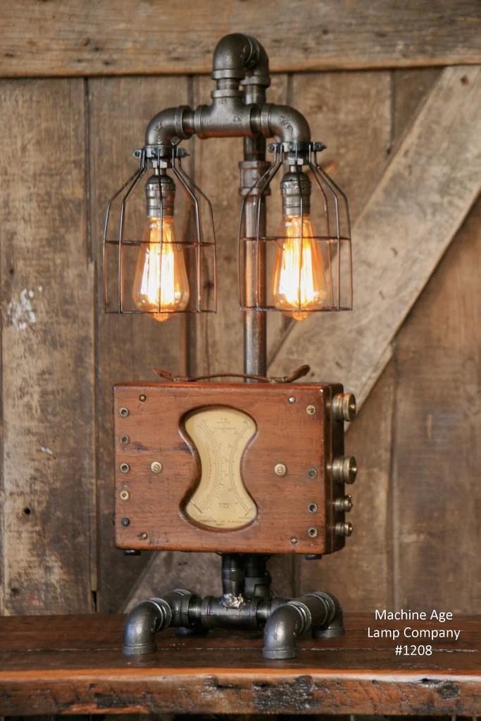 Steampunk Industrial Lamp  Electrical Meter  Gauge