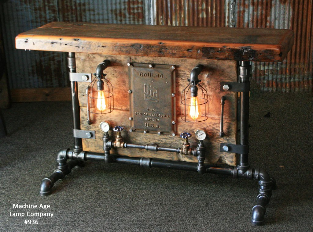 Steampunk Industrial Table Barn Wood New York  936 sold