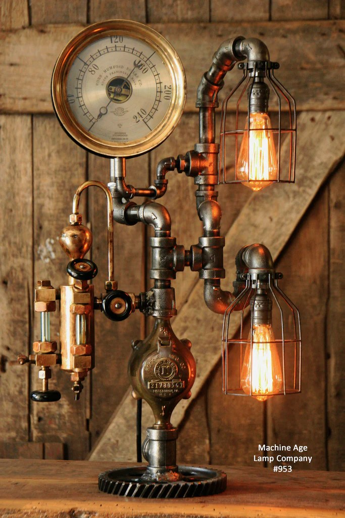 Steampunk Industrial Pipe Lamp Antique Oiler and Steam