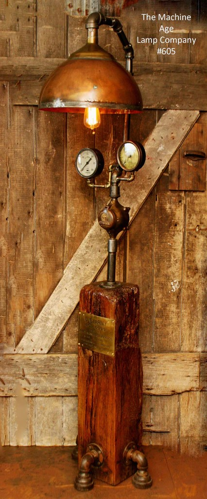 Steampunk Lamp Antique Steam Gauge and Barn Wood Base 605  sold