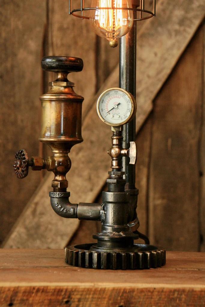 Steampunk Industrial Antique Brass Oiler Gauge Lamp  850