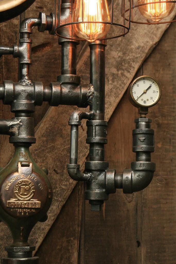 Steampunk Industrial Pipe Lamp Oiler and Steam Gauge  944