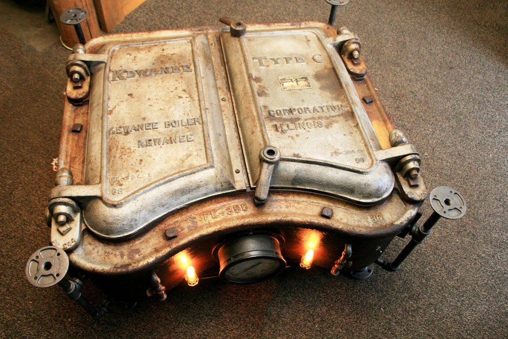 Steampunk Industrial Boiler Door Coffee Table Or Lamp Stand 831 SO