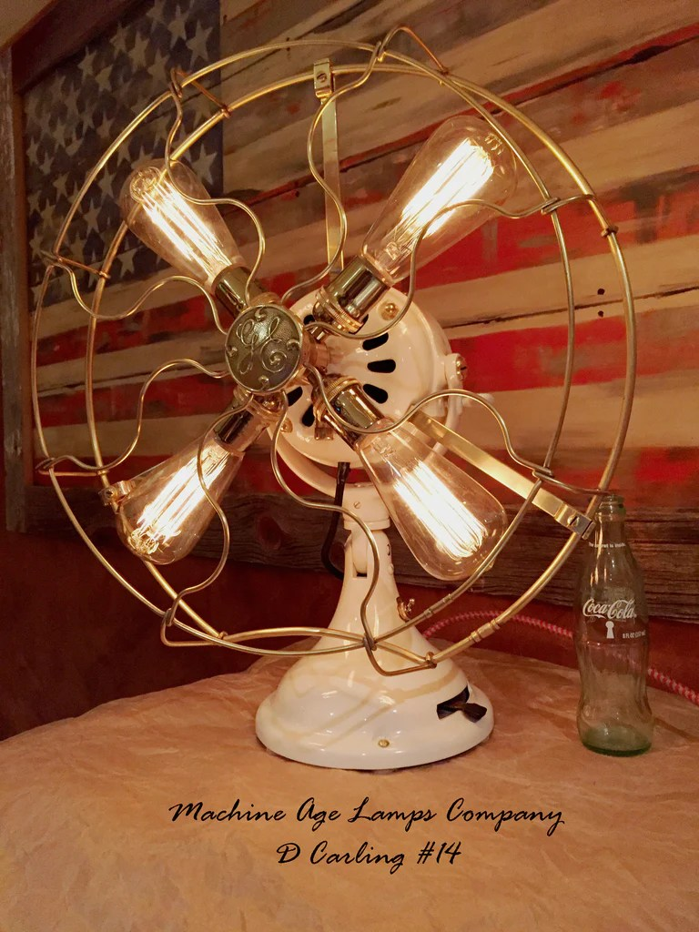 Steampunk Industrial 1916 General Electric Fan Lamp with