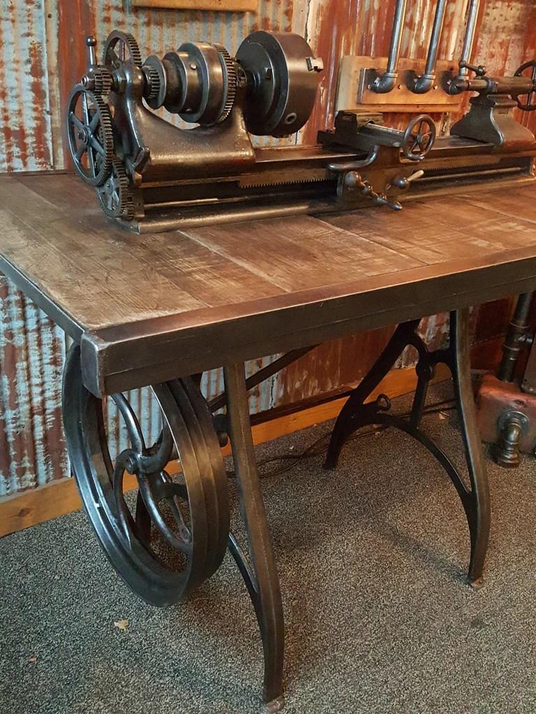 Rare Antique Barnes Lathe Pub Table Stand Reclaimed Wood