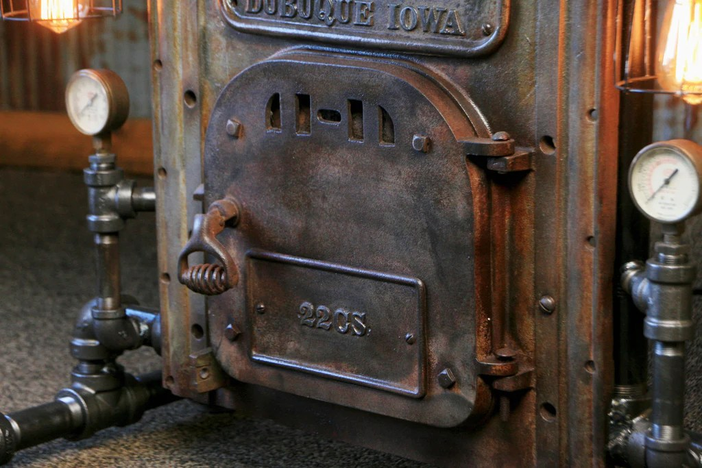 Steampunk Industrial Table  Antique Boiler Door  Steam