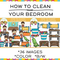 How to Clean Your Bedroom Sequencing Clip Art Images & Illustrations Whimsy Clips ®
