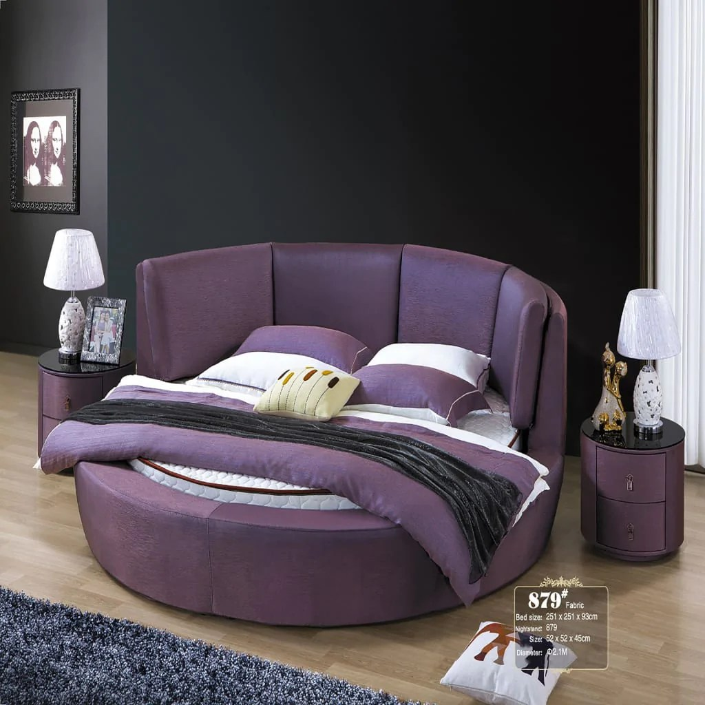Santa Round Shape Upholstered Panel Bed With Nightstand