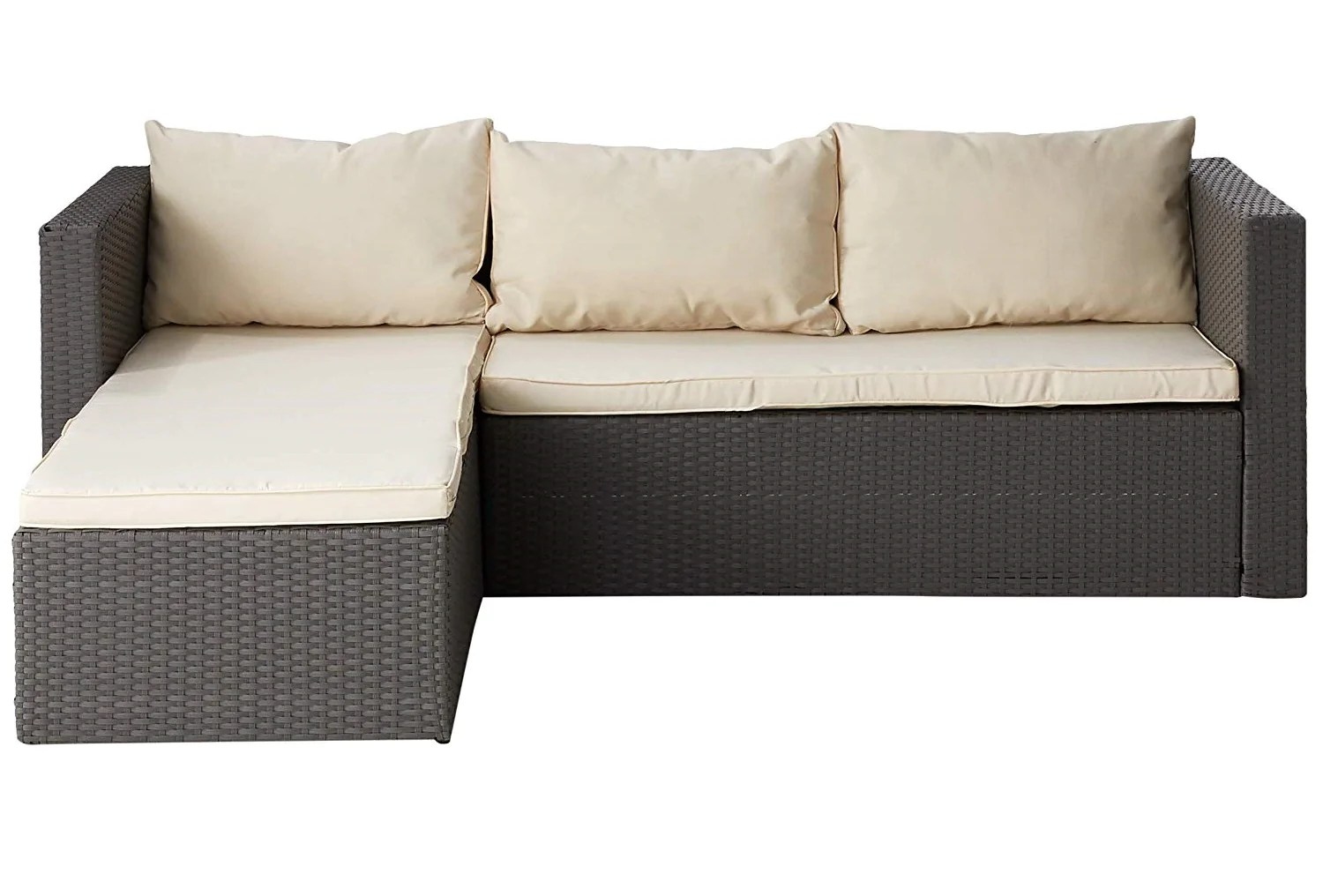 Rattan 3 Piece Sofa 3 Piece Sectional Seating Group Grey Rattan Cream Cushions