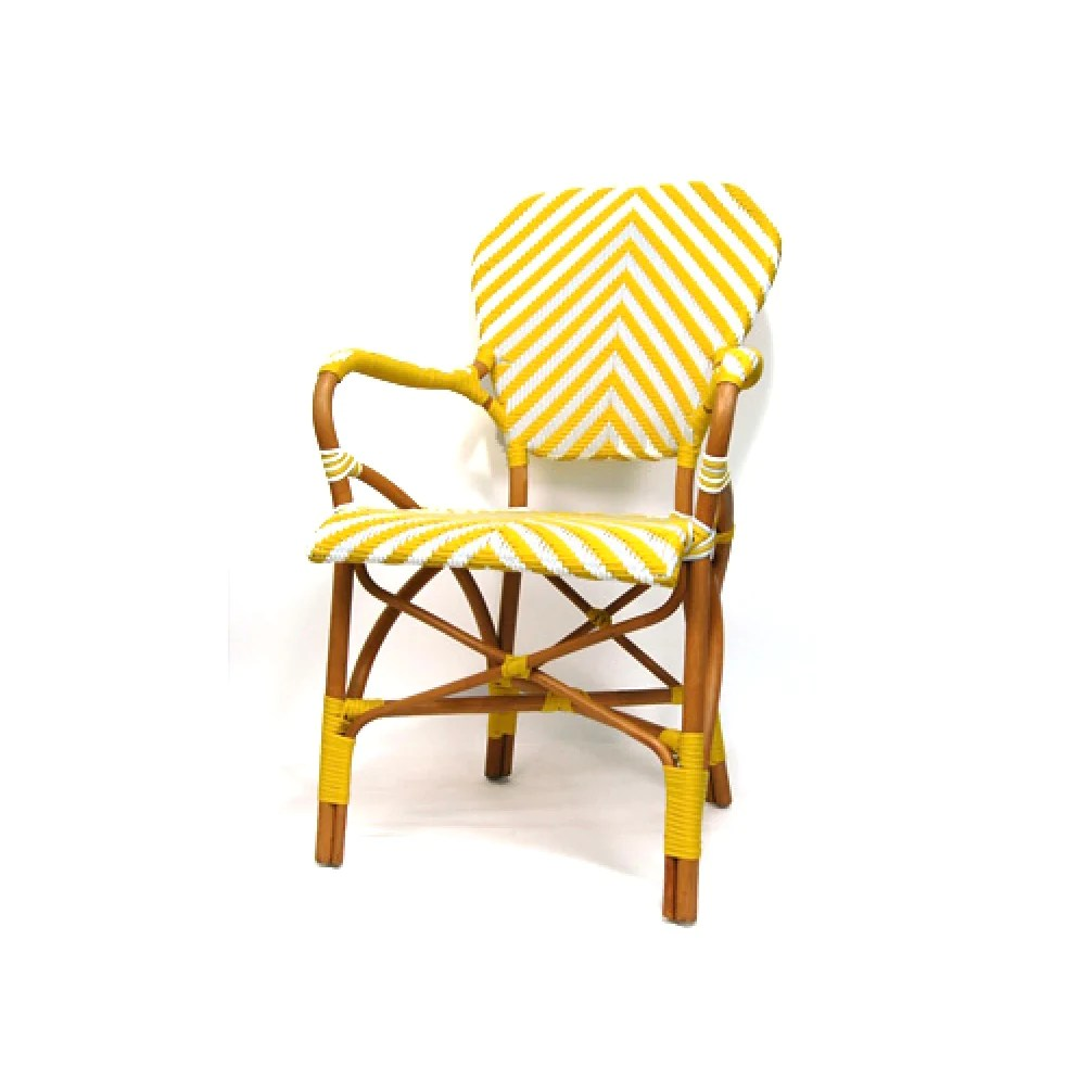 White Bistro Chairs Woven French Bistro Chair Yellow White