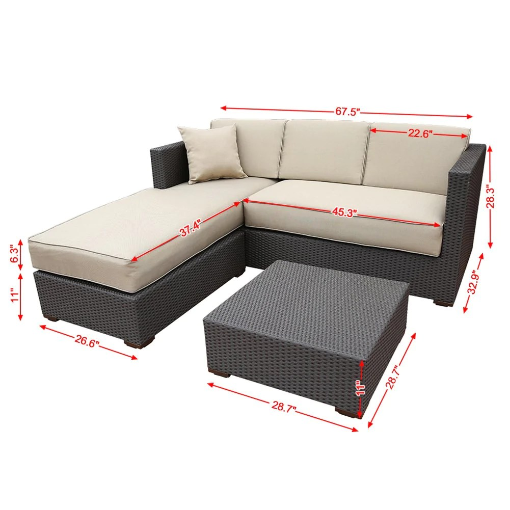 Rattan 3 Piece Sofa 3 Piece Outdoor Wicker Rattan Garden Sofa And Chaise Lounge Set