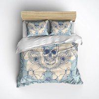 Peacock Feather Cornflower Blue and Cream Skull Duvet ...