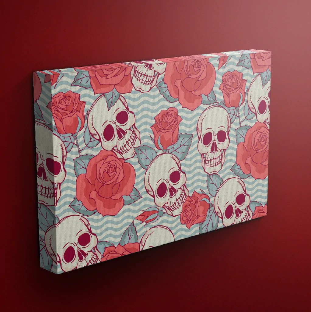 Wavy Chevron Rose Skull Wrapped Canvas - Ink And Rags
