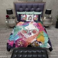 Bright Flower Hipster Skull Duvet Bedding Sets - Ink and Rags
