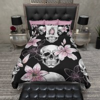 Pink Lilly Skull Duvet Bedding Sets - Ink and Rags