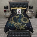 Boho Midnight Black Teal With Gold Sun Moon And Stars Bedding Collecti Ink And Rags