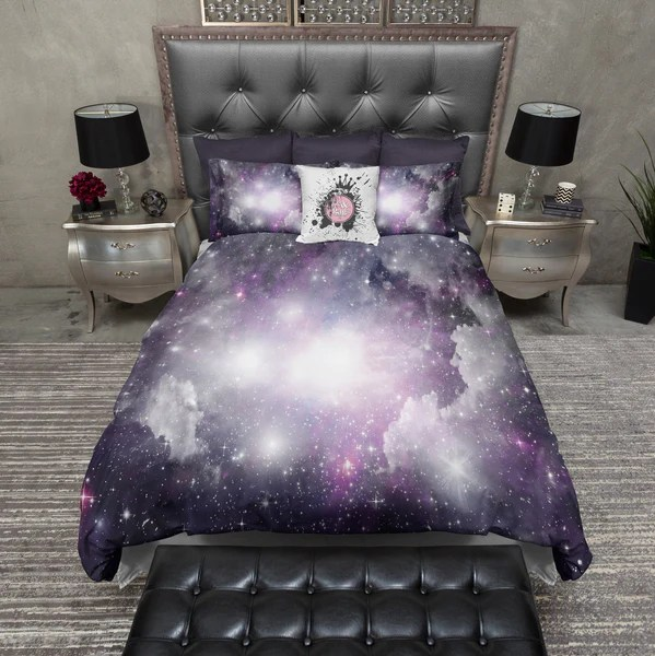 Purple And Grey Nebula Galaxy Duvet Bedding Sets Ink And