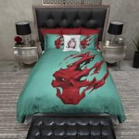 Red Devil Teal and Red Skull Duvet Bedding Sets