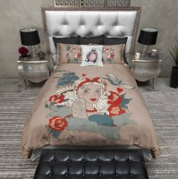 Rockabilly Pinup Tattoo Style Duvet Bedding Sets - Ink and ...