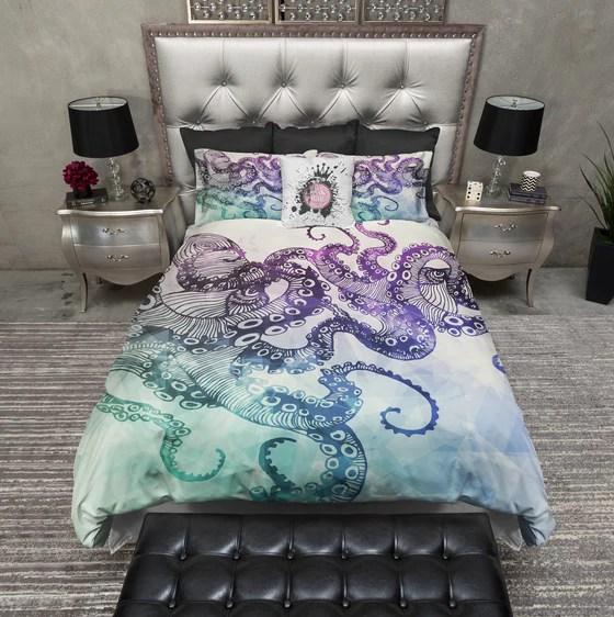 Teal Tentacle Purple Octopus Kraken Ship Bedding  Ink and