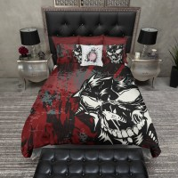 Black Red and Mean Skull Bedding