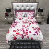Red and Purple Crown Rose Skull Duvet Bedding Sets - Ink ...