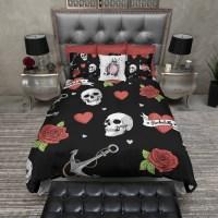 Rockabilly Heart Anchor Rose Skull Duvet Bedding Sets in ...