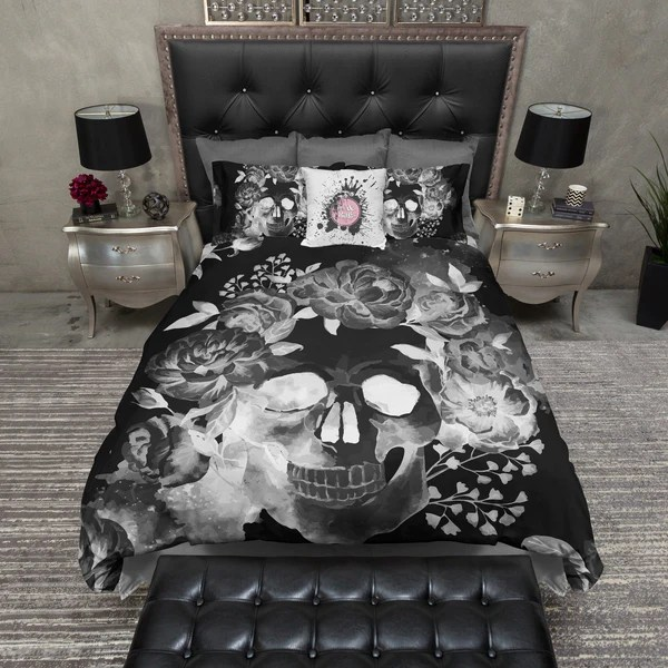 black kitchen island cart outdoor storage night watercolor skull bedding – ink and rags