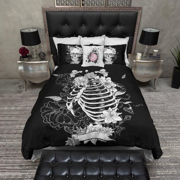 Black Flower Torso Skeleton Skull Bedding Ink And Rags