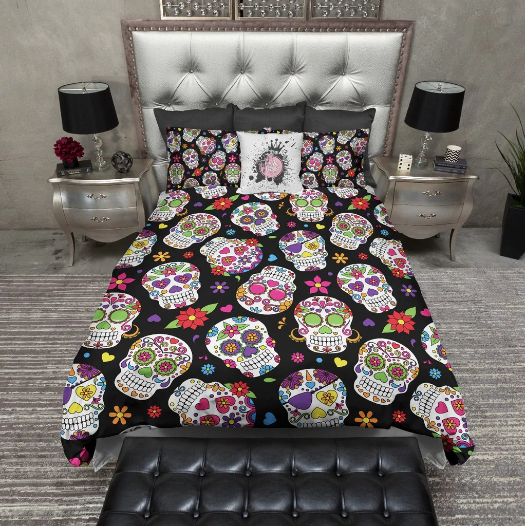 Day Of The Dead Sugar Skull Bedding Ink And Rags
