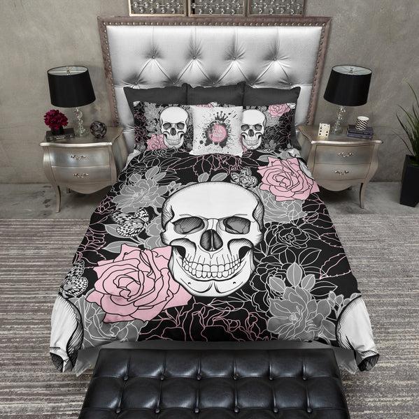Pink and Grey on Black Flower Skull Duvet Bedding Sets