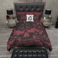 Red and Black Collage Skull Bedding - Ink and Rags