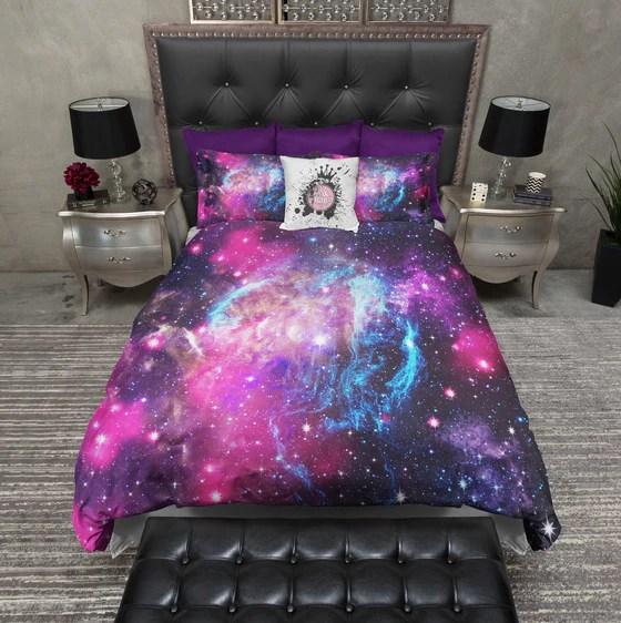 Blue Purple Nebula Galaxy Bedding  Ink and Rags