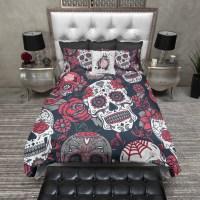 Red White and Blue Sugar Skull Duvet Bedding Sets