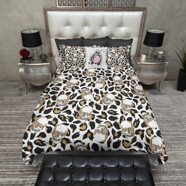 Leopard Print Skull Duvet Bedding Sets  Ink and Rags