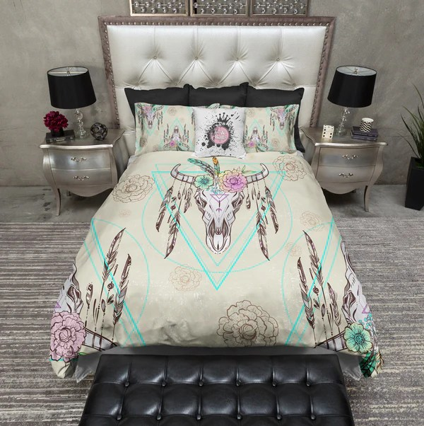 Boho Flower And Feather Bison Skull Bedding Ink And Rags