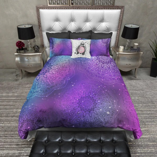 Purple Pink Teal and Blue BOHO Mandala Bedding  Ink and Rags