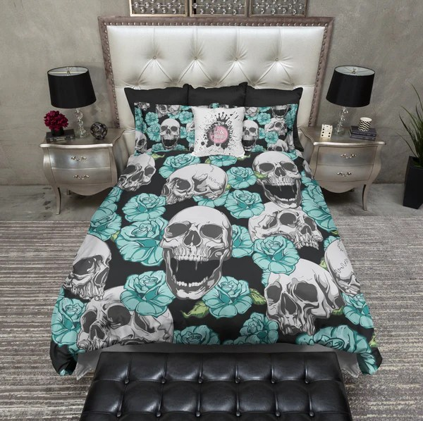 Teal and Turquoise Skull Bedding  Ink and Rags