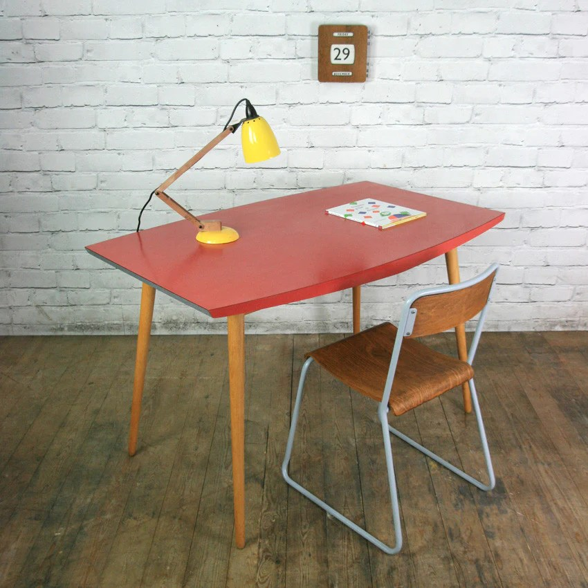Vintage 1950s red formica vintage table or desk  Mustard