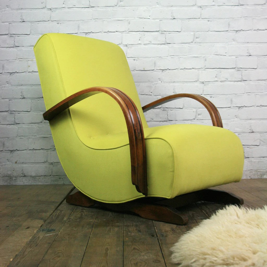 Banana Rocker Chair Vintage Art Deco Mid Century Rocking Chair 1 Mustard