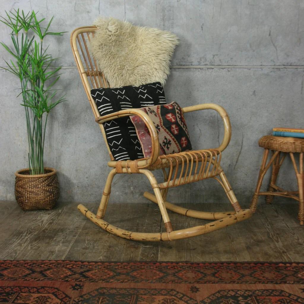 bamboo rattan chair golden technologies lift parts bohemian rocking mustard vintage