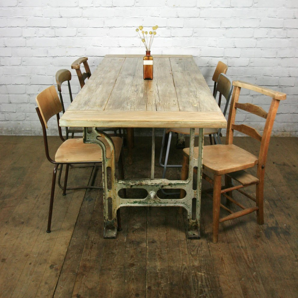 Reclaimed Cast Iron Industrial Dining Table - Retail
