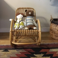 Childs Rattan Chair Dining Seat Height Vintage Mid Century Boho Bamboo *child Sized* Rocking - Mustard