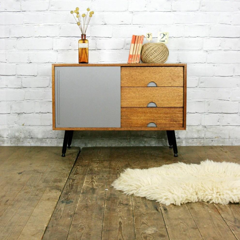 Small Mid Century Teak Painted CabinetSideboard  Mustard