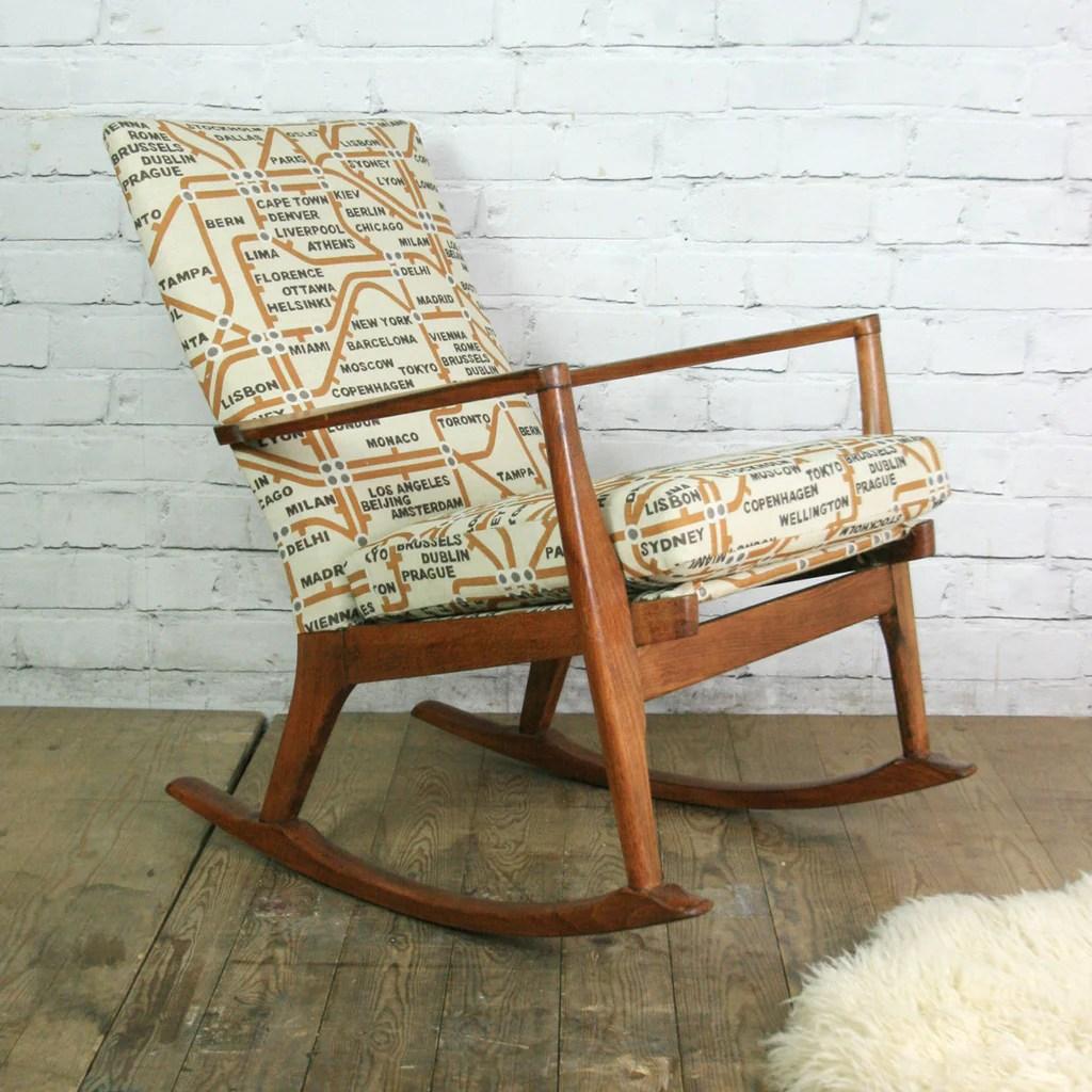 Vintage 1960s Parker Knoll rocking chair  Mustard Vintage